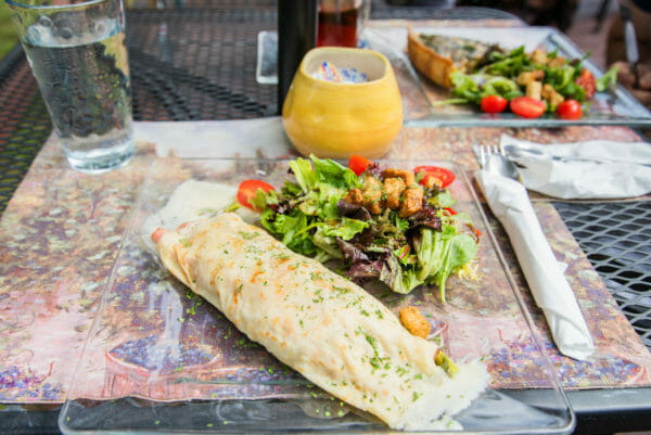 Crepe and salad on plate at Quiche et Crepe in Plattsburgh, NY