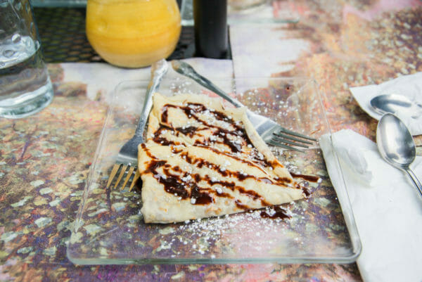 Crepe on plate at Quiche et Crepe in Plattsburgh, NY
