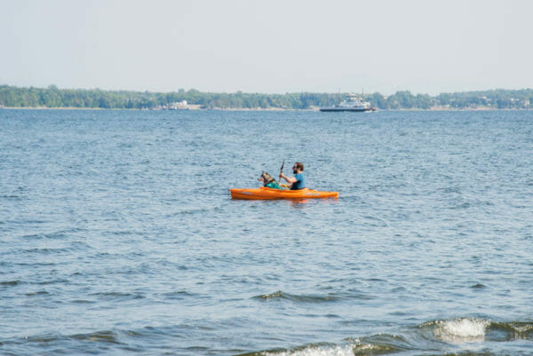 Man kayaking in Lake Champlain