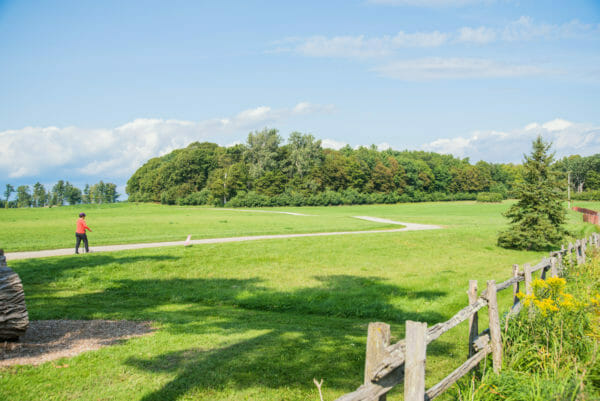 Walking trail through the grass at Shelburne Farms