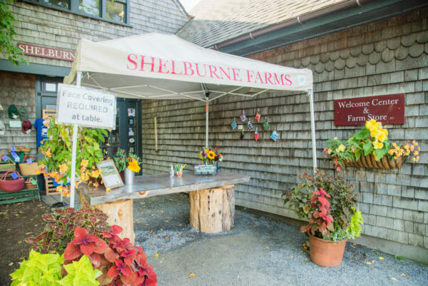 Shelburne Farms food stand with a tent