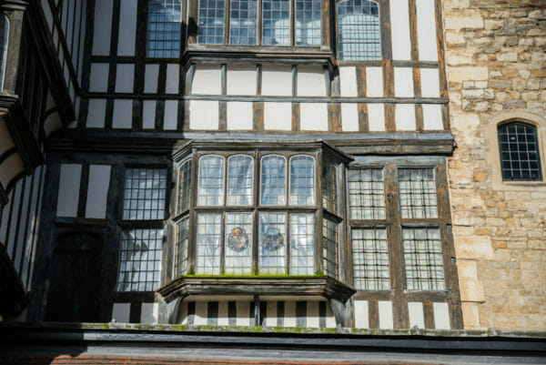 Tudor style decorative windows at the Tower of London