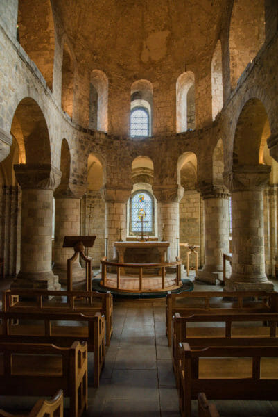 Inside a small stone chapel at the Tower of London