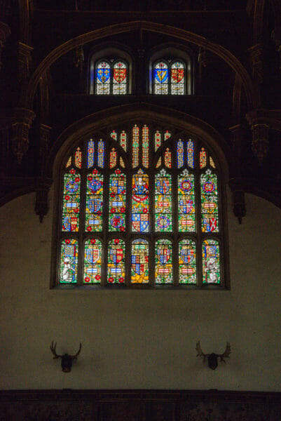 Large stained glass window at Hampton Court