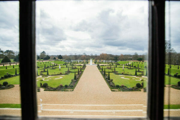 View of garden at at Hampton Court from a window