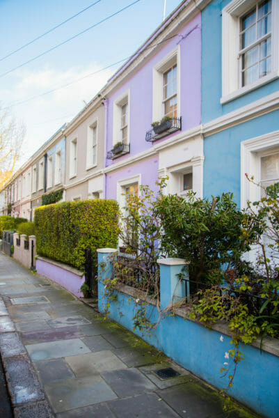 Blue and purple houses in Notting Hill