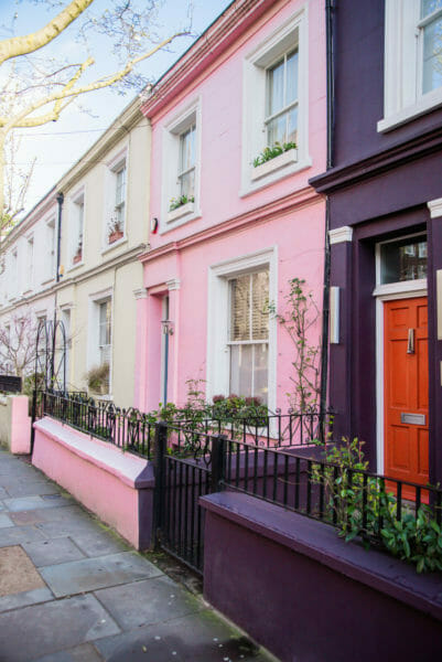 Pink and purple houses in Notting Hill