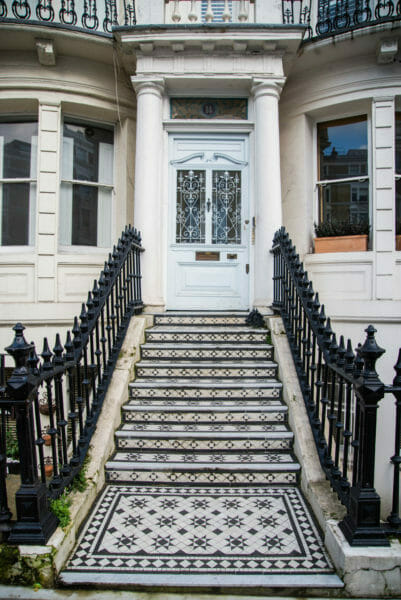 Decorative black and white tiles on steps