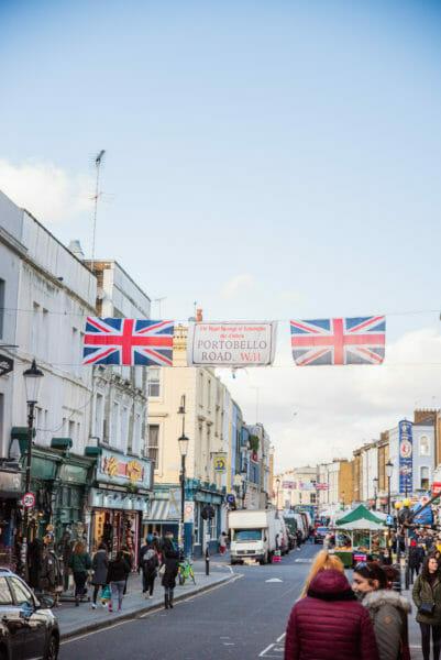 Banner for Portobello Road across a street in Notting Hill