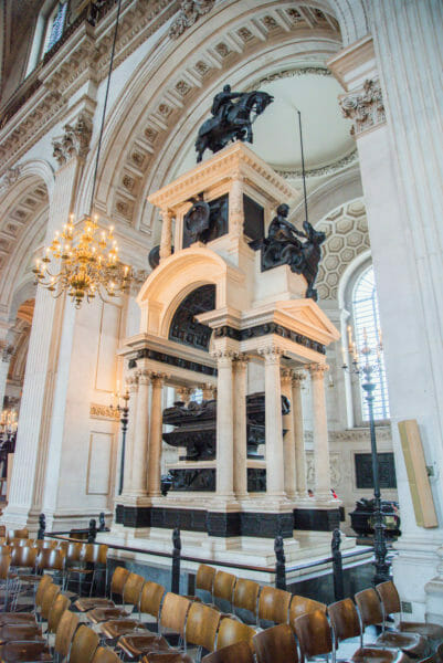 Black statue inside St. Paul's Cathedral