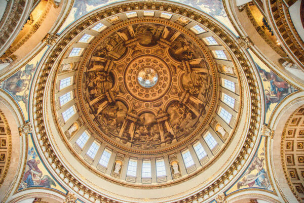 Inside painted dome in St. Paul's Cathedral
