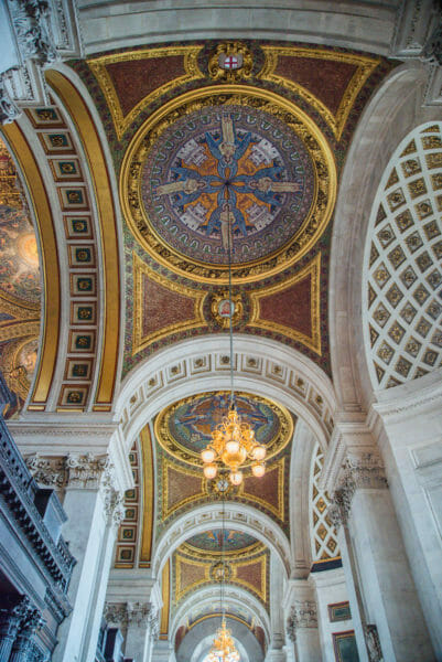 Painted ceiling inside archways in St. Paul's Cathedral