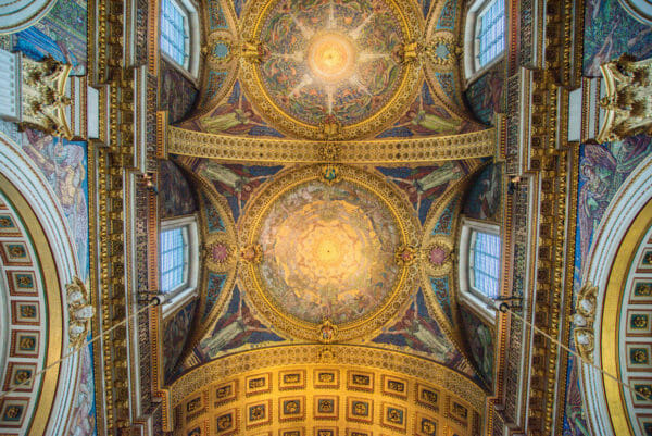 Gold painted ceiling in St. Paul's Cathedral