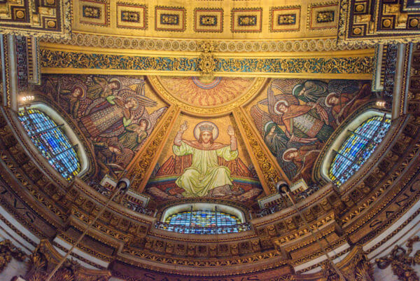 Painting of Jesus on the ceiling in St. Paul's Cathedral