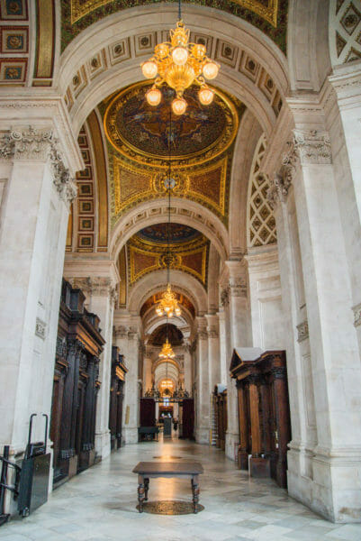 Side aisle with marble columns in in St. Paul's Cathedral
