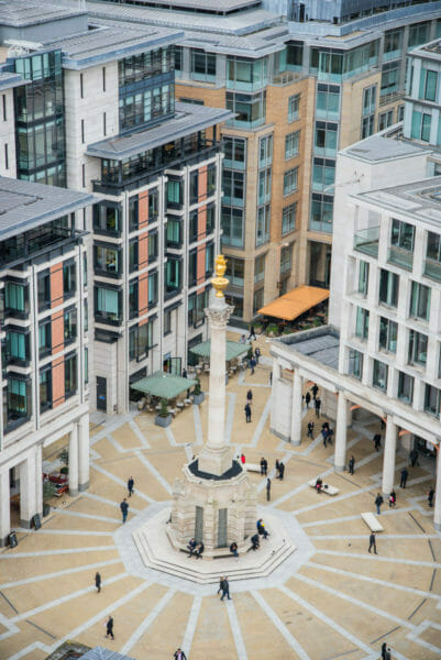 View of square with gold statue in London