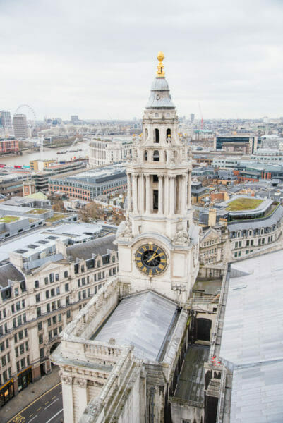 View of St. Paul's Cathedral clock tower from the roof