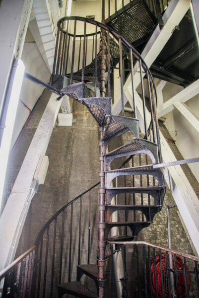 Spiral stairs inside a clock tower