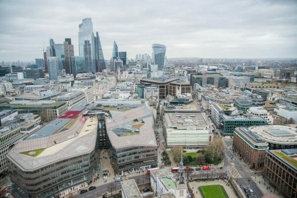 View of London skyscrapers from St. Paul's Cathedral roof