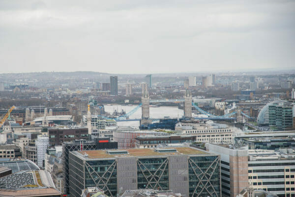 View of London bridge from St. Paul's Cathedral roof