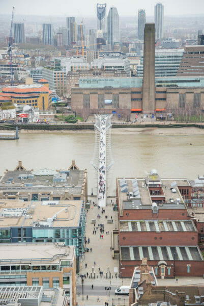 View of walking bridge from St. Paul's Cathedral roof