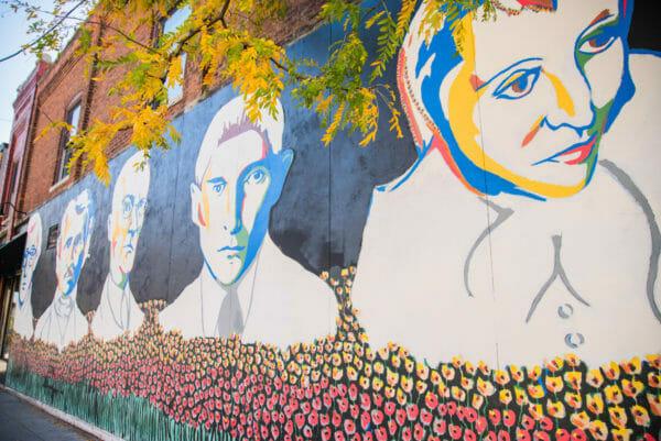 Mural of historic people in Ann Arbor, Michigan