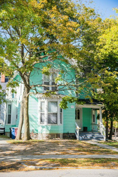 Turquoise house in Ann Arbor, Michigan