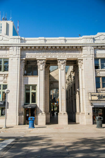 Nickels Arcade with marble columns in Ann Arbor, Michigan