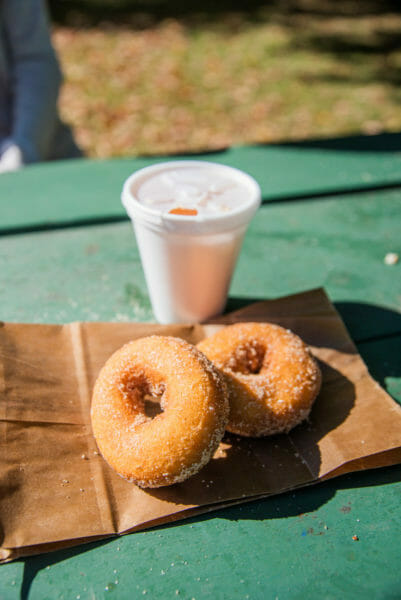 Apple cider with donuts at Robinette's Apple Haus in Grand Rapids, MI