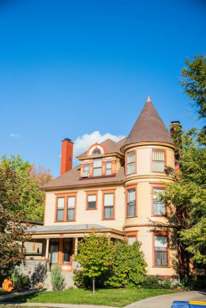 Orange Victorian house in Grand Rapids, MI