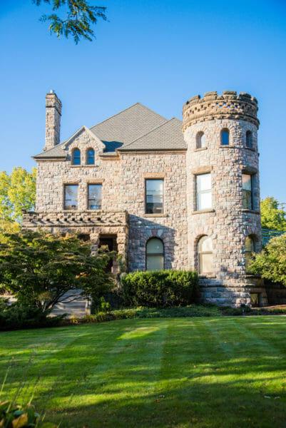 Stone mansion with turret in Grand Rapids, MI