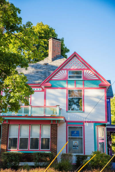 Victorian house with hot pink accents in Grand Rapids, MI