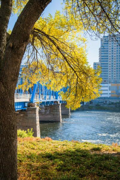 Blue pedestrian bridge in Grand Rapids, MI
