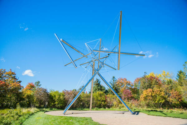 Silver abstract modern statue at Meijer Gardens