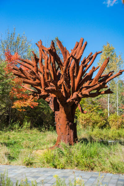 Red clay tree statue at Meijer Gardens
